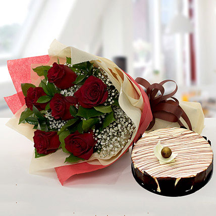 Enchanting Rose Bouquet With Marble Cake: Send Flowers to Abha