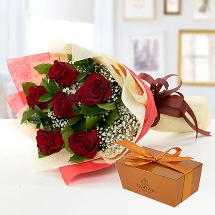6 Red Roses and Godiva Chocolate Combo: Gifts for Karwa Chauth