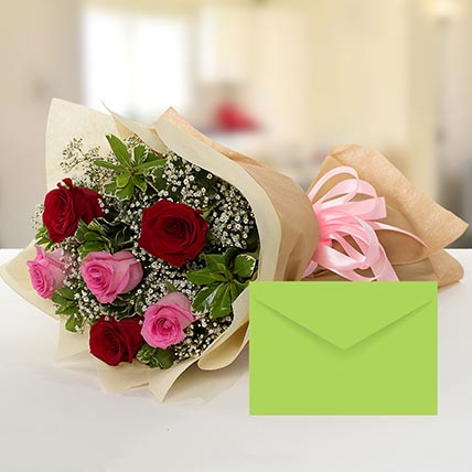 Attractive Roses Bouquet With Greeting Card: Same Day Delivery Flowers