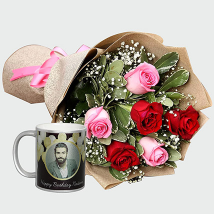 Combo Of Roses Bouquet And Personalised Mug: Valentines Day Personalised Gifts
