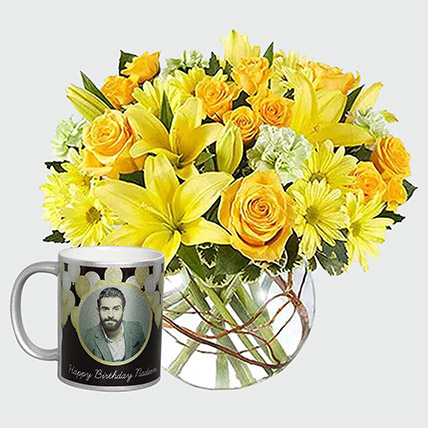 Floral Arrangement And Personalised Mug: Personalised Gifts