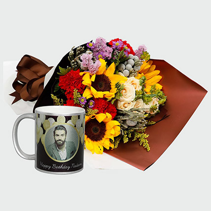 Flower Bouquet And Personalised Mug: Sunflower Bouquet