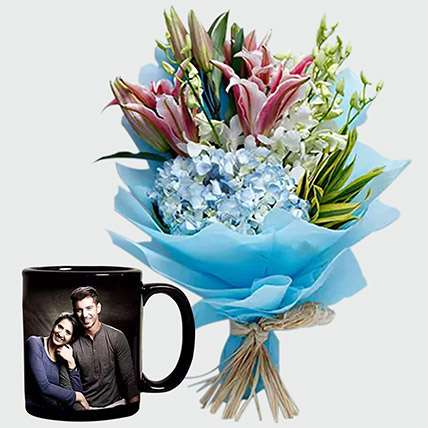 Oriental Lilies Bouquet And Personalised Mug: Order Mugs