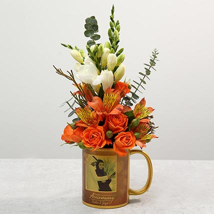 Personalised Anniversary Mug With Orange Rose Flower Arrangement: Mixed Flower Delivery