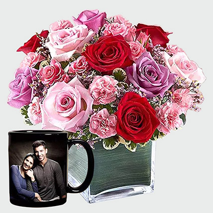 Roses Arrangement And Personalised Mug: Birthday Gifts For Her