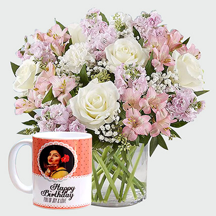 White Roses And Personalised Mug: Personalised Gifts
