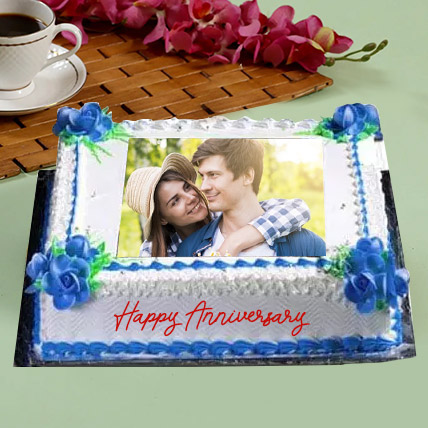 Anniversary Floral Photo Cake: Photo Cakes