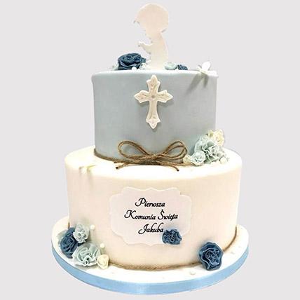 Blue And White Christening Cake: Designer Cakes