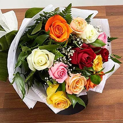 12 Mixed Color Roses Bouquet: Gifts On Sale