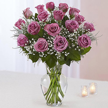 20 Light Purple Roses In A Vase: Anniversary Gifts For Parents