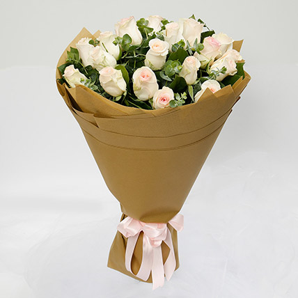 20 Peach Roses Bouquet: Thank You Gifts