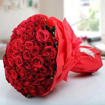 100 Hot Red Roses Bunch:
