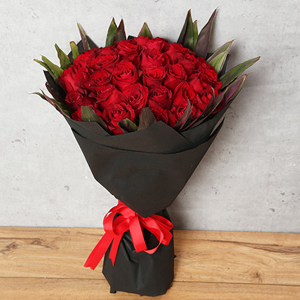 50 Red Roses Bouquet With Black Wrapping: Gifts On Sale