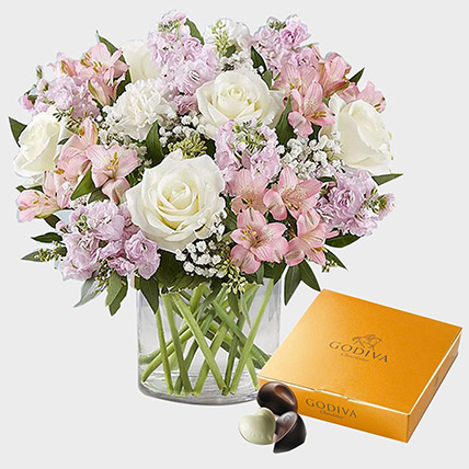 Elegant Beauty Flowers N Godiva Gold Chocolate Box: Karwa Chauth Gifts