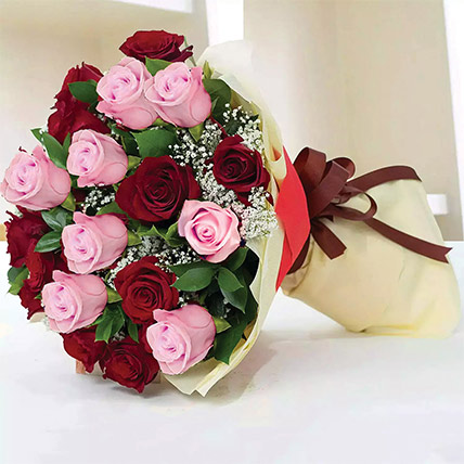 Glorious Pink N Red Roses Bouquet: Birthday Gifts For Boyfriend