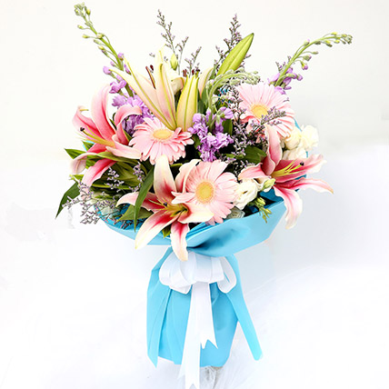 Kingdom Of Gerberas And Lavender Flower Bouquet: Lilies Flowers