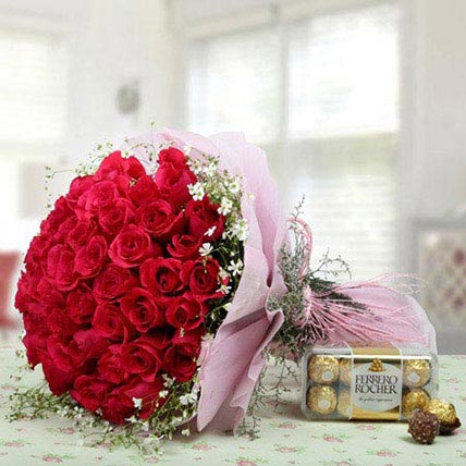 Pink Roses Bunch With Ferrero Rocher: Send Gifts to Medina