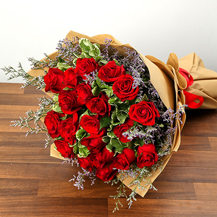 Stylish 20 Red Roses Bunch: Gifts for Karwa Chauth