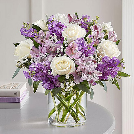 White N Purple Crescent With Vase: Congratulations Flowers