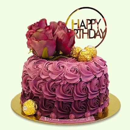 Rosy Birthday Cake: Designer Cakes Delivery