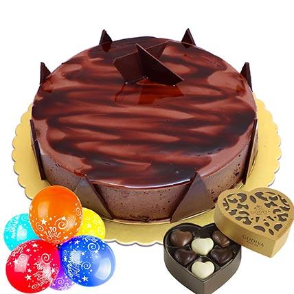 Anniversary Special Ganache Cake Combo: Balloons