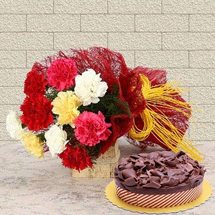 Beautiful Carnations & Choco Mousse Cake: Flowers and Cakes Delivery