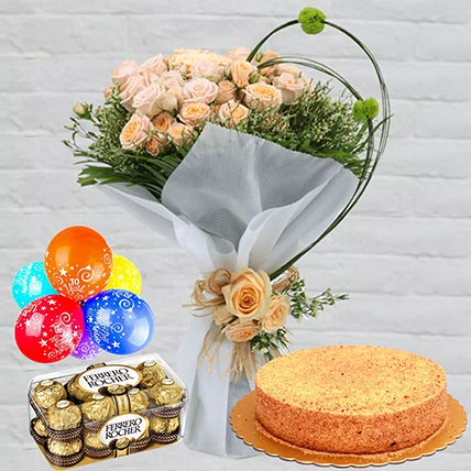 Honey Cake With Peach Roses Combo: Flowers and Chocolates Delivery