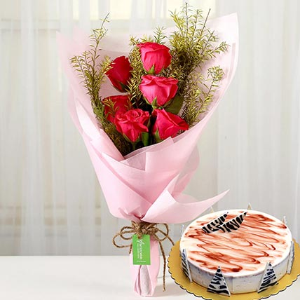 Pink Roses & Choco Vanilla Cake: Flowers N Cakes