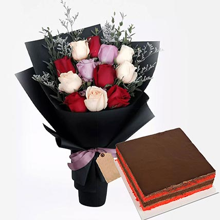 Red Velvet Cake with Roses Bunch: Gifts On Sale
