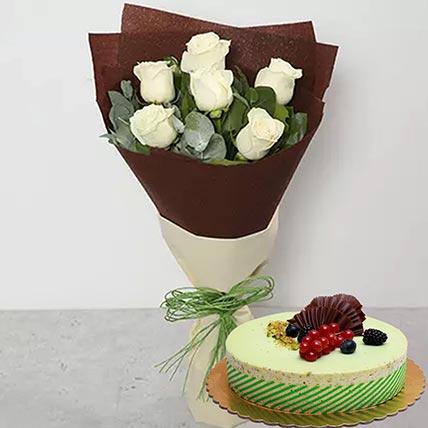 White Roses & Kifaya Cake: Flowers N Cakes