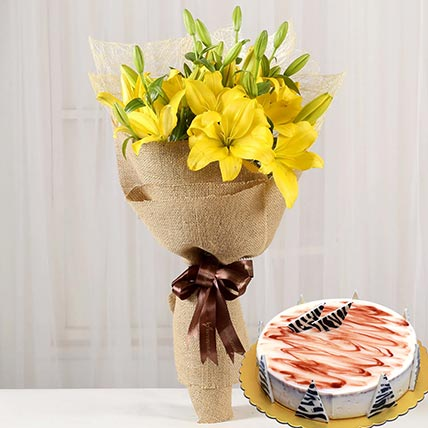 Yellow Lilies & Choco Vanilla Cake: Flowers N Cakes