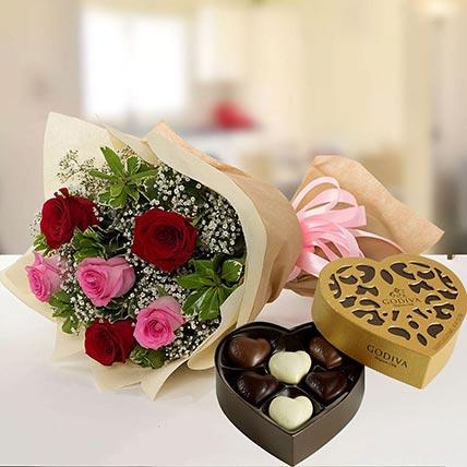 Beautiful Roses & Godiva Chocolates: Flowers N Chocolates