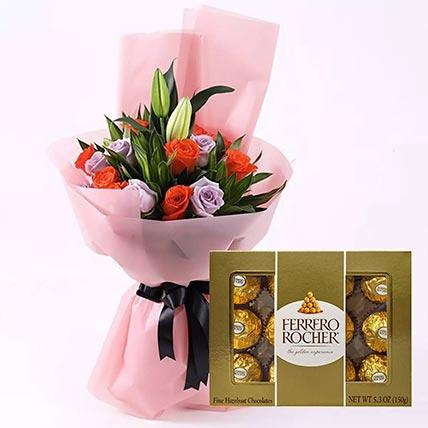 Elegant Flower Bouquet & Ferrero Rocher: Gift Combos