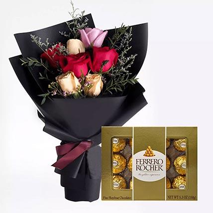 Mixed Roses Posy & Ferrero Rocher: Ferrero Rocher Chocolates