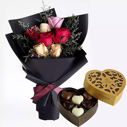 Mixed Roses Posy & Godiva Chocolates: Godiva Chocolates