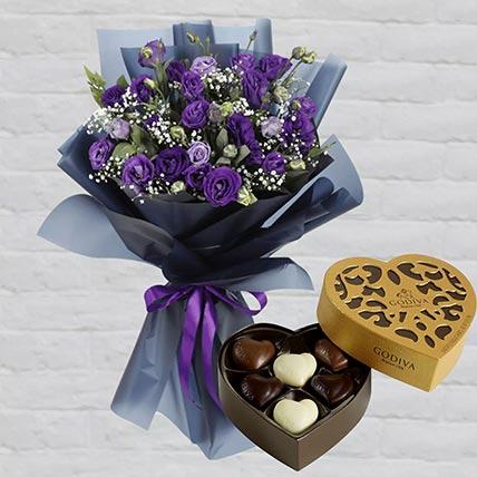 Purple Lisianthus & Godiva Chocolates: