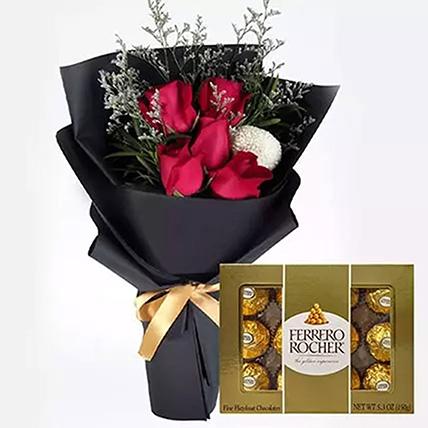 Romantic Red Roses & Ferrero Rocher: