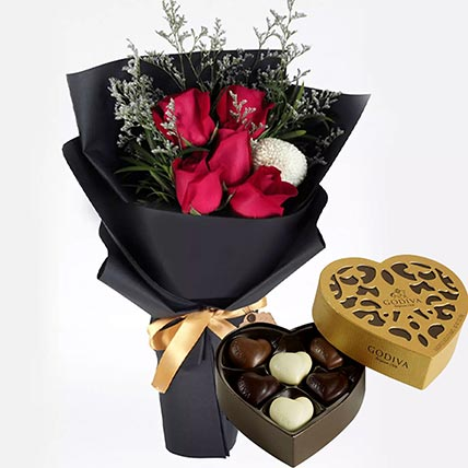 Romantic Red Roses & Godiva Chocolates: Flowers N Chocolates