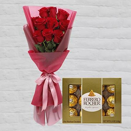 Romantic Red Roses Posy & Ferrero Rocher: Flowers N Chocolates