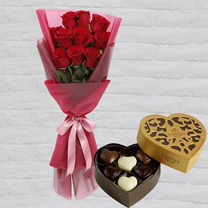 Romantic Red Roses Posy & Godiva Chocolates: