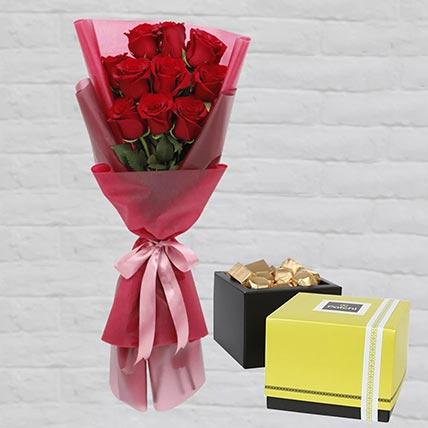Romantic Red Roses Posy & Patchi Chocolates: