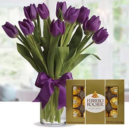 Royal Purple Tulips & Ferrero Rocher: