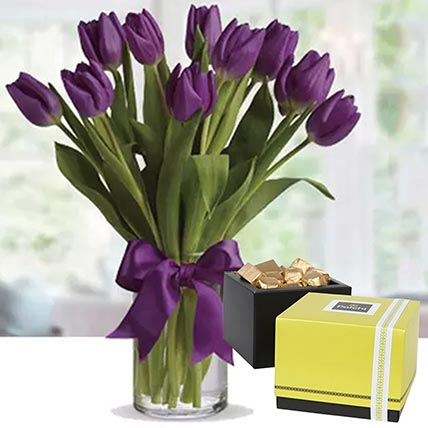 Royal Purple Tulips & Patchi Chocolates: Flowers and Chocolates Delivery