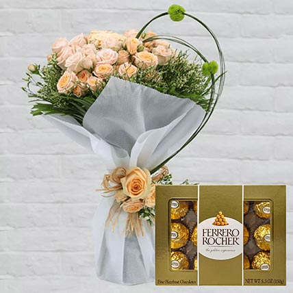 Spray Roses Bouquet & Ferrero Rocher: Ferrero Rocher Chocolates
