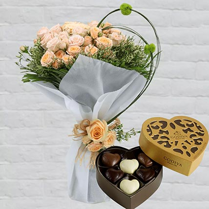 Spray Roses Bouquet & Godiva Chocolates: