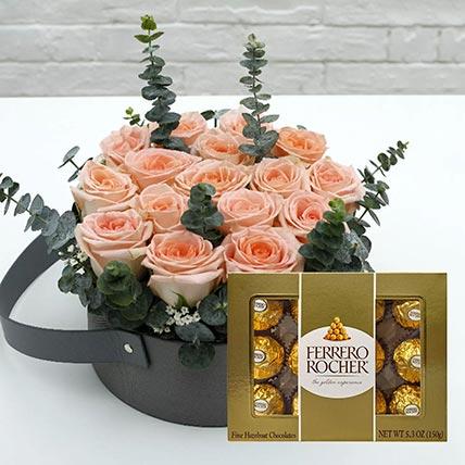 Sweet Pink Roses & Ferrero Rocher: Gift Combos