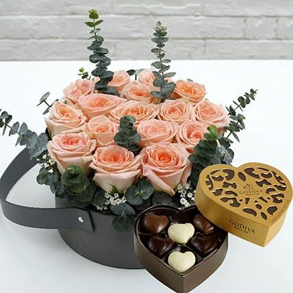 Sweet Pink Roses & Godiva Chocolates: