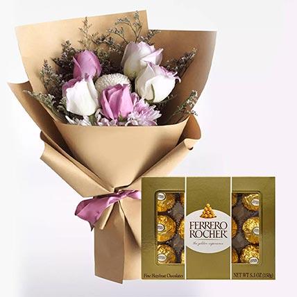 White Purple Flowers & Ferrero Rocher: Flowers N Chocolates