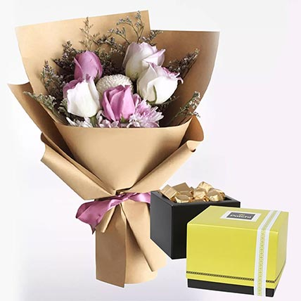 White Purple Flowers & Patchi Chocolates: Send Gifts to Abha