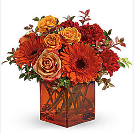 Ornamental Orange Floral Arrangement: Thanksgiving Day Gifts